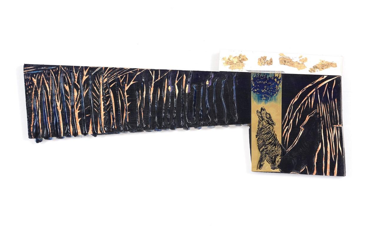 """שמיים זהובים, עץ, אקריליק, סיליקון, שקף, פרספקס, נייר זהב, 52/19 ס""""מ, 2018"""