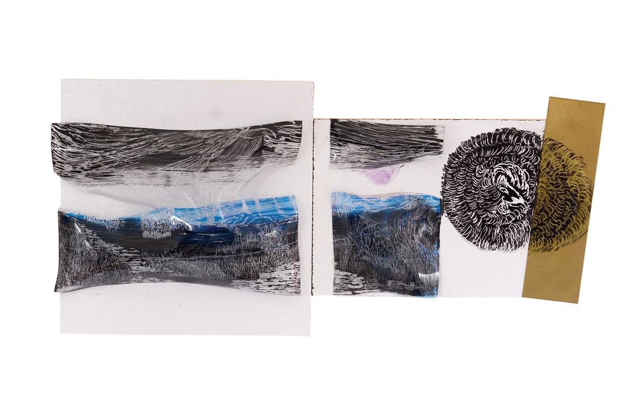 """ללא שם, עץ, שקף, אקריליק, פח, פליז, 41/21 ס""""מ, 2018"""