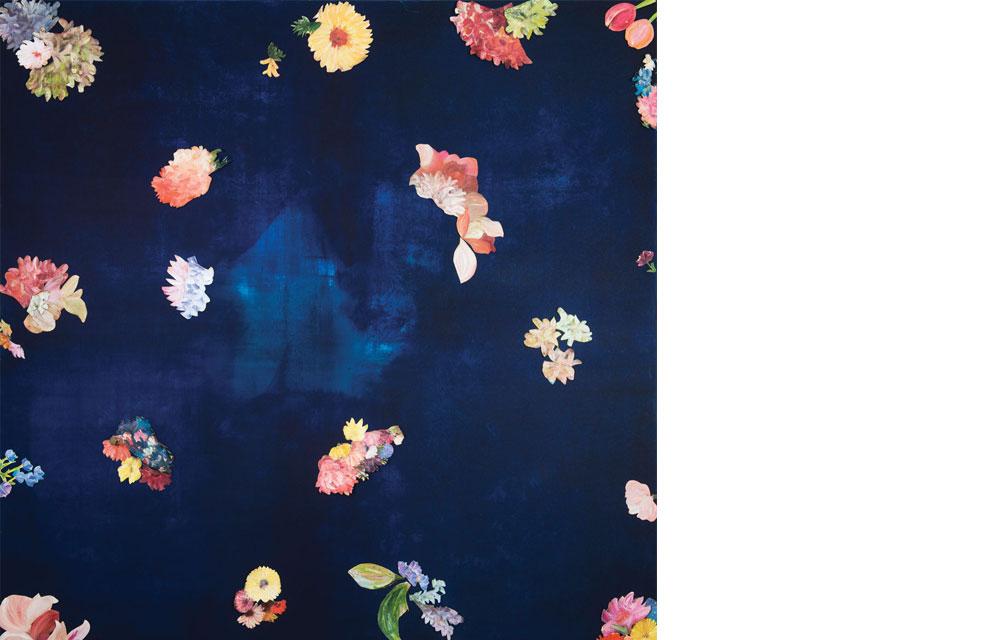 """ללא כותרת, שמן על בד, פרחים גזורים, 150/150 ס""""מ,2017"""